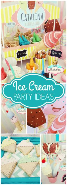Loving this pastel ice cream birthday party! See more party ideas at CatchMyParty.com!