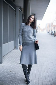 Sexy sweater and skirt combo with Casadei OTK boots.