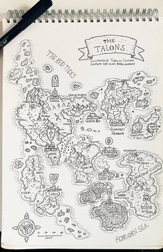 DnD Pen and Paper campaign map I drew for an upcoming game I'll be running. Let me know that you think! Fantasy Map Making, Fantasy World Map, Fantasy City, Fantasy Magic, Fantasy Story, Artwork Fantasy, Voyage Sketchbook, Dnd World Map, Rpg Map