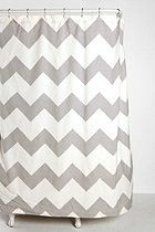 Zigzag Shower Curtain  from Urban Outfitters. Woven cotton. Comes in grey and aqua.
