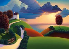 Paul Corfield, Professional Landscape painter, working in oils and painting freelance for Washington Green Fine Art Publishing. Landscape Art, Landscape Paintings, Oil Paintings, Naive Art, Whimsical Art, Painting Inspiration, Folk Art, Contemporary Art, Abstract Art