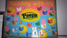 """""""Spring reading bulletin board great for Easter library books"""""""