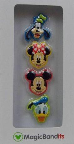 Disney-Parks-Magic-Band-Bandits-Character-Heads-Wrist-Charms-Set-of-4-New