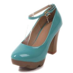 Barato Primavera doce couro japanned sapatos de salto alto salto grosso plataforma de salto alto sapatos único cinta calçados femininos casuais, Compro Qualidade Bombas diretamente de fornecedores da China:      Detalhes do produto