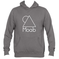 Moab, Utah White Minimal Mountain and Sun - Men's Hooded Sweatshirt/Hoodie