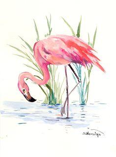 Flamingo Artwork, Painting, Original watercolor 12 X 9 in, pink flamingo lover, flamingo painting, flamingo wall art, pink room