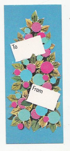 Blue & Pink Greetings    Vintage gift tag, direct scan. Circa 1970s.