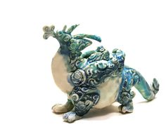 dragon figurine Puff the Damask Dragon blue by SongandBranch, 95.00