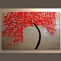 A RED POWERFUL CURVED TREE KNIFE PAINTING THAT IS SIMPLE & CHIC. - THIS…