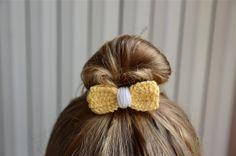 elastico per capelli e fiocco all uncinetto