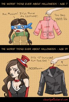 Yeah, Jackets don't go well with Halloween costumes... (a comic by my friend Jen Herd)