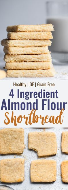 Gluten Free Almond Flour Shortbread Cookies - Only 4 simple ingredients and melt in your mouth Naturally gluten free delicious and perfect for the holidays Foodfaithfitness Glutenfree christmas shortbread healthy Gluten Free Shortbread Cookies, Almond Flour Cookies, Baking With Almond Flour, Almond Flour Recipes, Paleo Cookies, Recipes With Flour, Desserts With Almond Flour, Wheat Free Baking, Best Gluten Free Cookies