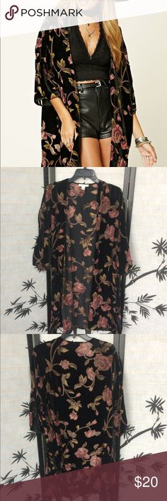 Forever 21 velvet floral kimono 38 inches long. Only worn once. Forever 21 Sweaters Cardigans