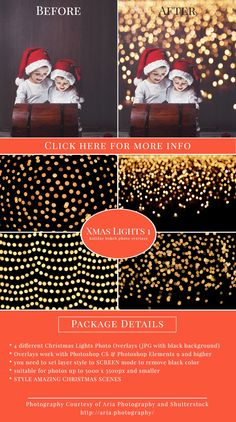 Christmas Lights Photo Overlays for Photoshop and Photoshop Elements - $15.