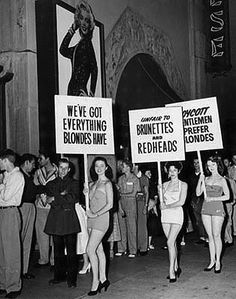 "Non-Blondes Against ""Gentlemen Prefer Blondes"" -  The leggy Non-blondes picket outside of the Chinese Theatre in 1953 at the premiere of Gentlemen Prefer Blondes."
