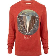 red nyc connection print sweatshirt - sweatshirts - hoodies / sweatshirts - men - River Island ($20-50) - Svpply Printed Sweatshirts, Mens Sweatshirts, Mens Fleece, Mens Clothing Styles, Graphic Sweatshirt, T Shirt, Sweater Weather, Swagg, Kids Wear