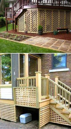 Add lattice to the bottom of a deck to hide the ugly under the deck and create a secure storage place.