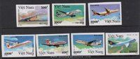 Vietnam Stamps - 1992, Sc 2331-7 , Airplanes - Imperf , MNH, F-VF - (9N07G)