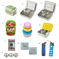 1. ECOlunchbox Three-in-One Stainless Steel Food Container Set, 2. LunchBots Bento Trio, 3. LunchBots Bento Cinco, 4. Goodbyn Bynto Food Container, 5. Kids Konserve Nesting Trio, 6. LunchBots Duo Stainless Steel Snack Container, 7. Honeybee Food Wraps, 8. LunchBots Condiment Containers, 9. 4MyEarth Snack Pocket Set, 10. Contigo Autospout Addison...