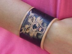 Hey, I found this really awesome Etsy listing at https://www.etsy.com/listing/155908107/leather-bracelet-hand-painted-wolf-2
