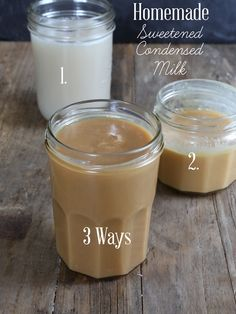 DIY Homemade Sweetened Condensed Milk - Dairy or dairy-free. Get this super simple, tested recipe for homemade sweetened condensed milk—made 3 ways, with whole milk, with evaporated milk or dairy free! Gluten Free Desserts, Dairy Free Recipes, Real Food Recipes, Dessert Recipes, Cooking Recipes, Drink Recipes, Homemade Sweetened Condensed Milk, Condensed Milk Recipes, Substitute For Condensed Milk