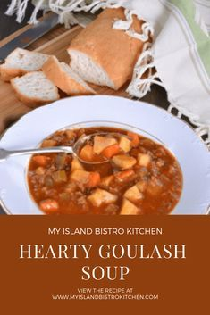 Hearty and thick beef Goulash Soup is perfect for cool fall or cold winter days. This filling soup is sure to become a family favorite. Beef Goulash Soup, Goulash Soup Recipes, Chili Recipes, Bratwurst, Food Styling, Tiramisu, Bistro Kitchen, Healthy Crockpot Recipes, Delicious Recipes