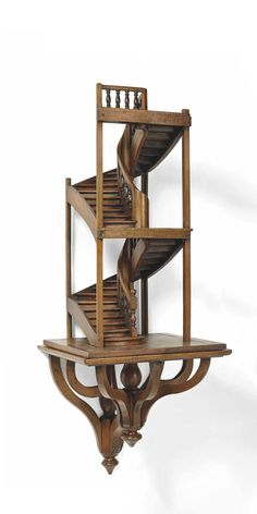 EXCEPTIONAL TWO-STAGE FRENCH COMPANIONSHIP MASTERPIECE STAIRCASE - BASILE PERRAULT, TROYES, 1865. Resting on its bracket; Signed and dated in reverse with pencil : Basile Perrault / Troyes 1865 - Dim: H: 90 cm (35 ½ in.); W: 71 cm; D: 65 cm.