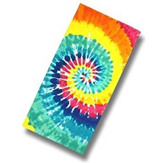 "Custom & Luxurious {28"" x 60"" Inch} 1 Single Large & Thick Soft Summer Beach & Bath Towels Made of Quick-Dry Cotton w/ Bright Colorful Rainbow Mainstay Tie Dye [Multicolored]"