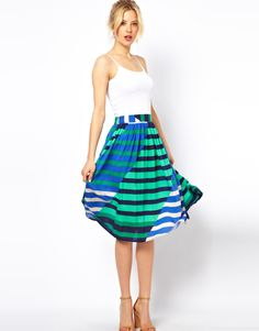 ASOS Midi Skirt in Multi Colored Stripe