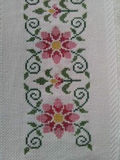 Cross Stitch Letters, Cross Stitch Bookmarks, Cross Stitch Rose, Cross Stitch Borders, Cross Stitch Flowers, Cross Stitch Designs, Cross Stitching, Ribbon Embroidery, Cross Stitch Embroidery