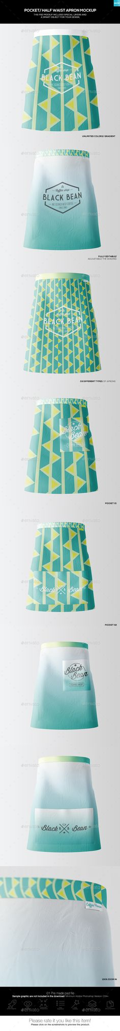 Half Waist Apron #Mockup (3 Types)-02 - #Miscellaneous Apparel Download here: https://graphicriver.net/item/half-waist-apron-mockup-3-types02/19455615?ref=alena994