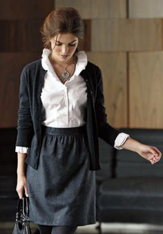 Feminine, with a cardi instead of a blazer