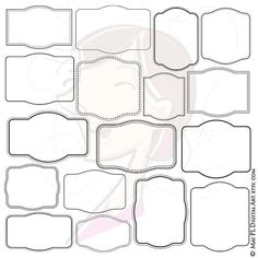 Simple Frame Clipart Make Own Labels Tags Badges Scrapbook Educational Graphics Transparent Background Commercial Use Instant Download 10511 #SimpleFrame #FrameClipart #LabelsTags