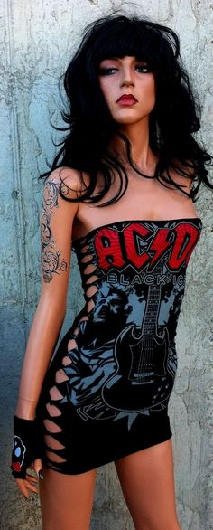 Custom Made Custom Shred Work- Ac Dc Tshirt Dress