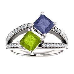 10kt White Gold 5mm Square 2 Gemstone Peridot & Iolite And 48 Accent…