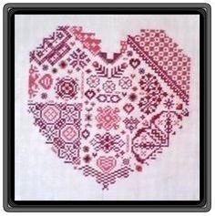 Cross Stitch and Blackwork Heart £2.50