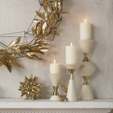 3 Piece Hourglass Pillar Candle Holder Set (Set of 3)