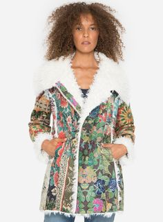 827561a156 Johnny Was...Behmet Printed Suede Coat Multi