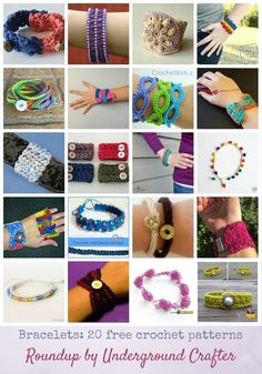 Roundup: 20 free crochet bracelet patterns via Underground Crafter | Learn a new technique, use up yarn stash, and make a beautiful project to wear or gift year-round with this roundup of 20 free crochet bracelet patterns. via @ucrafter