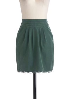 Hemlocks of Love Skirt by Gentle Fawn - Short, Green, Solid, Pleats, Pockets, Scallops, Work, Pencil, Casual
