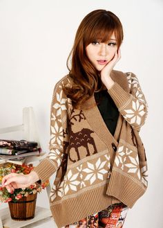 Fashion Loose Long Sleeve Button Fly Fawn Print
