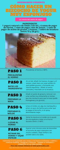 bizcocho de yogur esponjoso Sweet Recipes, Cake Recipes, Dessert Recipes, Desserts, Kombucha, Puerto Rico Food, Yogurt Cake, Delicious Deserts, Pan Dulce