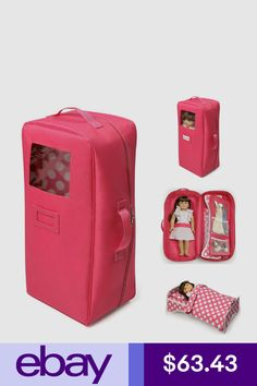 Cosas American Girl, Pink Suitcase, Apple Watch Accessories, Doll Accessories, Sewing Hacks, Girl Dolls, Toys, Doll Stuff, Badger