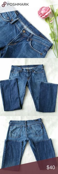 """Citizens of Humanity Kelly Bootcut Jeans Low waist stretch boot cut Kelly style #001, Waist 34"""" Inseam 29"""" Has some wear along pocket hems and bottom leg hems, see last photo, Jeans are a dark wash Citizens of Humanity Jeans Boot Cut"""