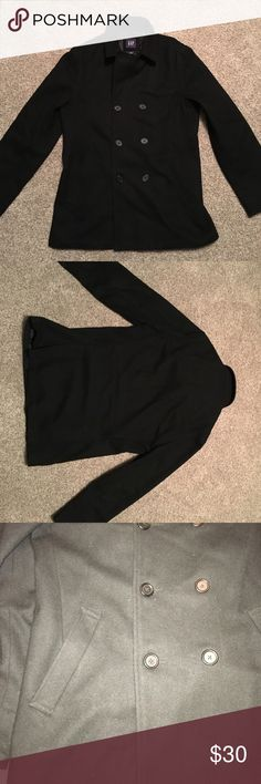Men's Gap wool peacoat Men's Gap wool peacoat. Black. 2 pockets on outside. Satin lined. Excellent condition. GAP Jackets & Coats Pea Coats