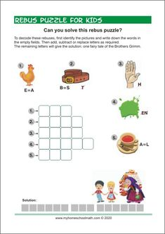 Free printable Rebus Puzzle for Kids Learning Colors, Fun Learning, Rebus Puzzles, Critical Thinking Skills, Learning Numbers, Pre Writing, Puzzles For Kids, Kids Prints, Literacy