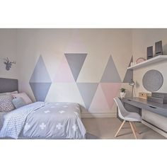 Bedroom design ideas for girls if looking for unique girls bedroom ideas consider painting triangles onto . bedroom design ideas for girls My New Room, My Room, Girl Room, Girl Nursery, Bedroom Furniture, Bedroom Decor, Bedroom Themes, Wall Decor, Teenage Girl Bedrooms