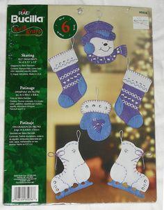 KIT Christmas Tree Ornaments Craft KIT, 6 Felt & Embroidery Designs, Skating Snowman Theme Bucilla 2004 UNOPENED Easy Kwik Kraft