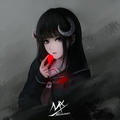 girl, original works, horn / 角 - pixiv Chica Anime Manga, Anime Oc, Fanarts Anime, Anime Chibi, Kawaii Anime, Anime Characters, Cool Anime Girl, Beautiful Anime Girl, Anime Art Girl
