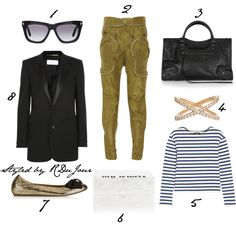 Outfit of the Day - Rocker Chic - Kate Moss Street Style - Tom Ford Cat Eye Sunglasses - Saint Laurent Tuxedo Blazer - Lanvin Bow Ballet Flats - Jennifer Fisher x Edie Parker Jewellery Box